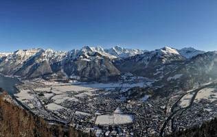 Panorama vom Harder Kulm im Winter